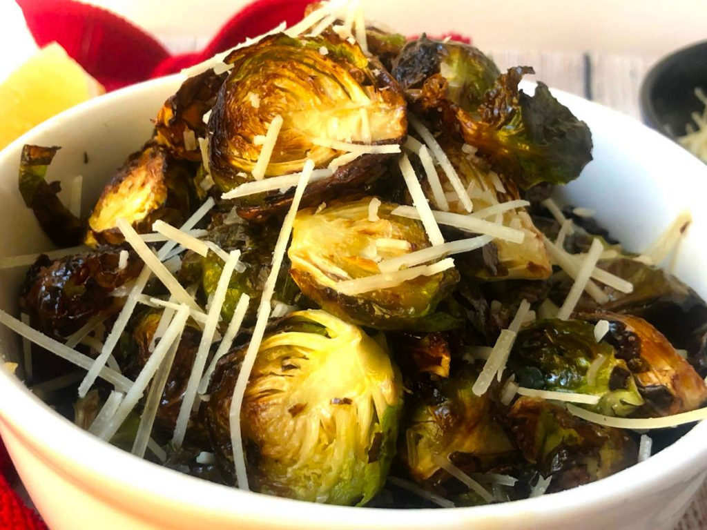 air fryer brussel sprouts with parmesan and honey butter sauce
