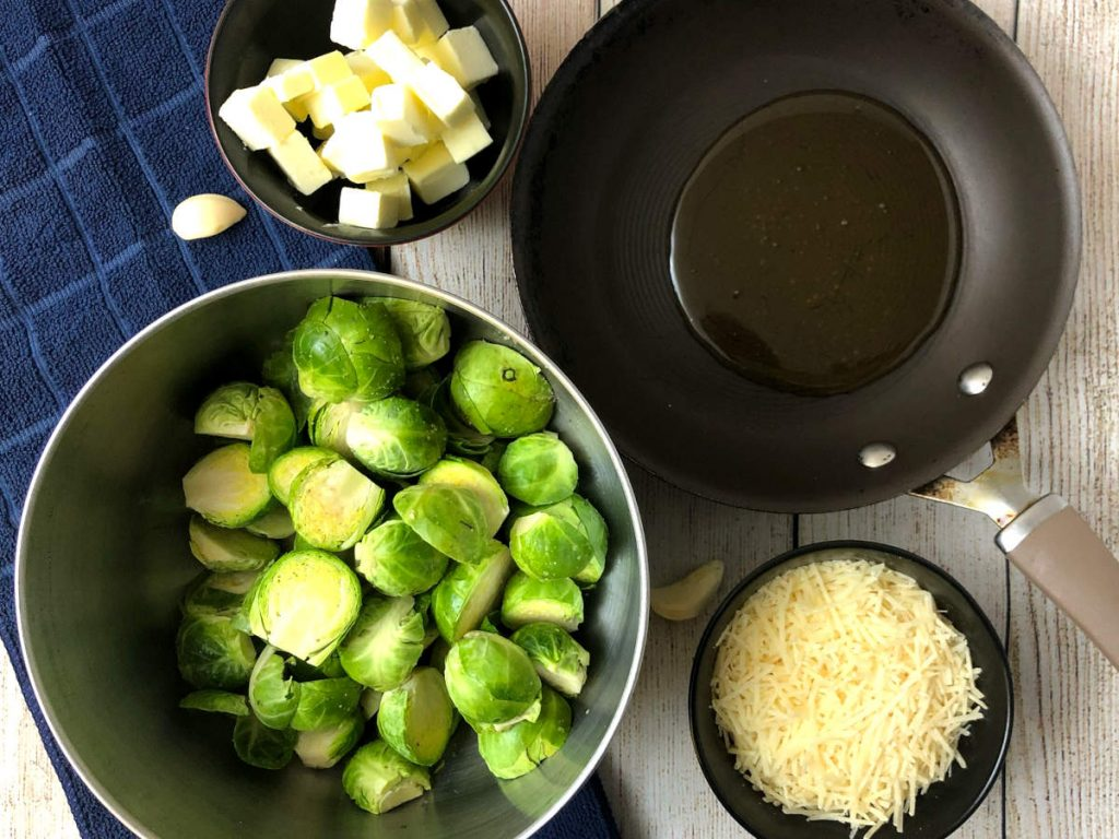 ingredients for air fryer brussels sprouts with parmesan and garlic honey butter sauce