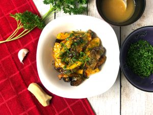 air fried butternut squash with ginger honey butter sauce