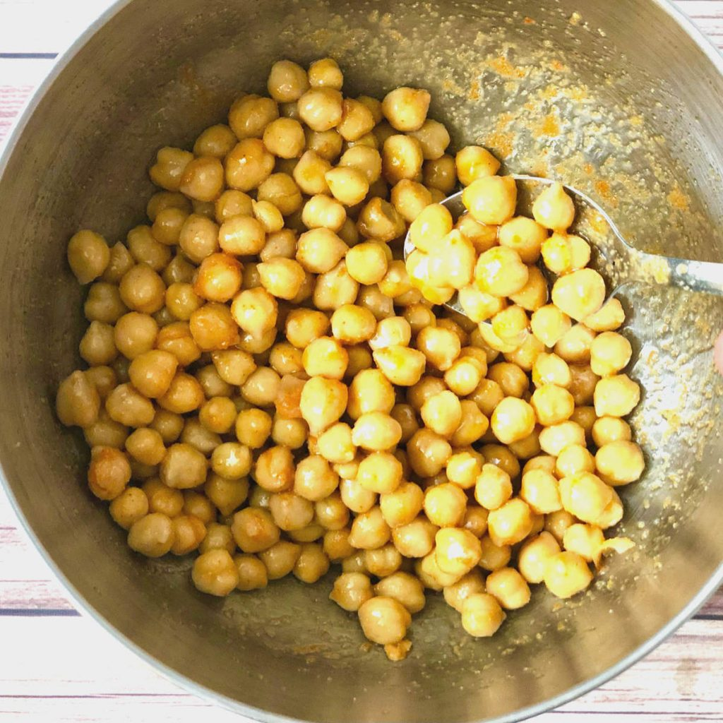 air fried chickpeas with hot sauce