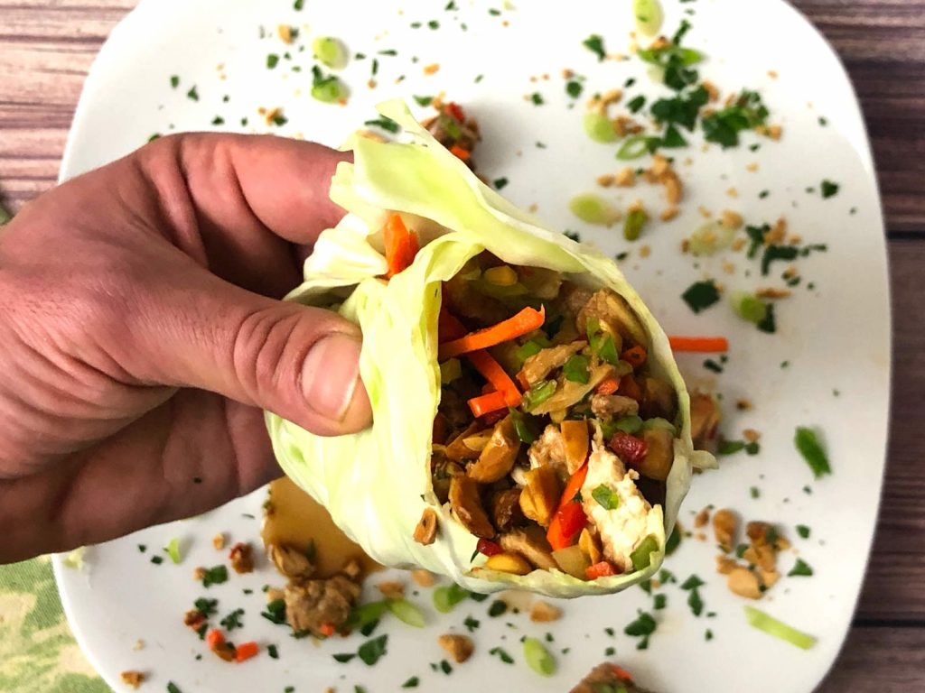 close up side view of asian chicken cabbage wrap with julienne carrot and red bell peppers