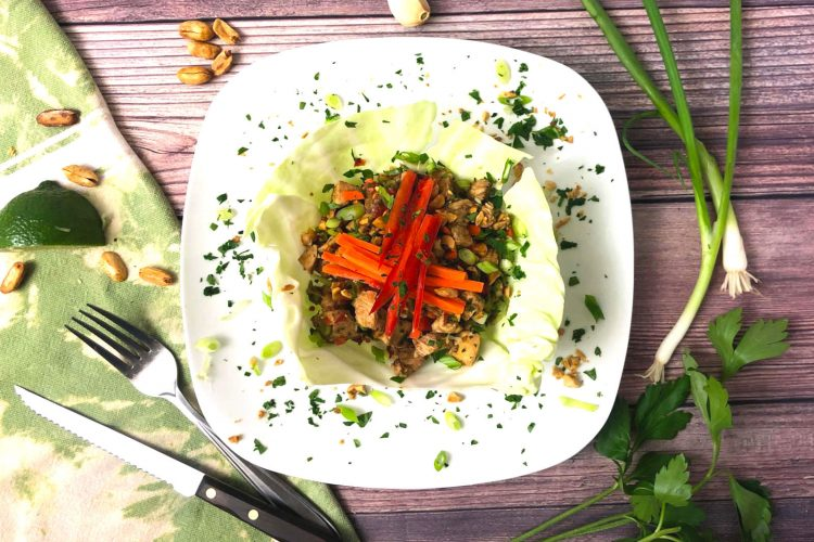 Asian chicken cabbage wrap with peanuts and julienne carrots