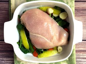 oven poached chicken with ginger and lemon peel