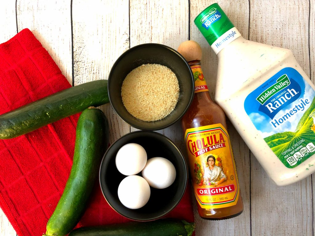 ingredients for zucchini fries in air fryer and spicy ranch sauce