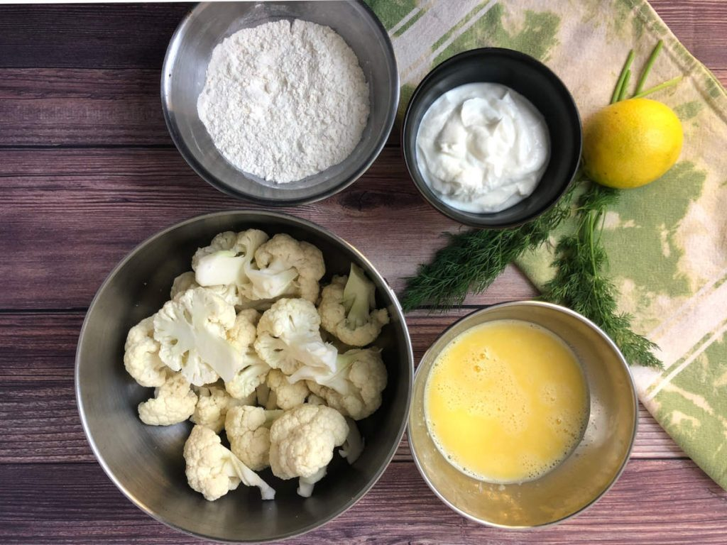 ingredients for breading and frying cauliflower florets