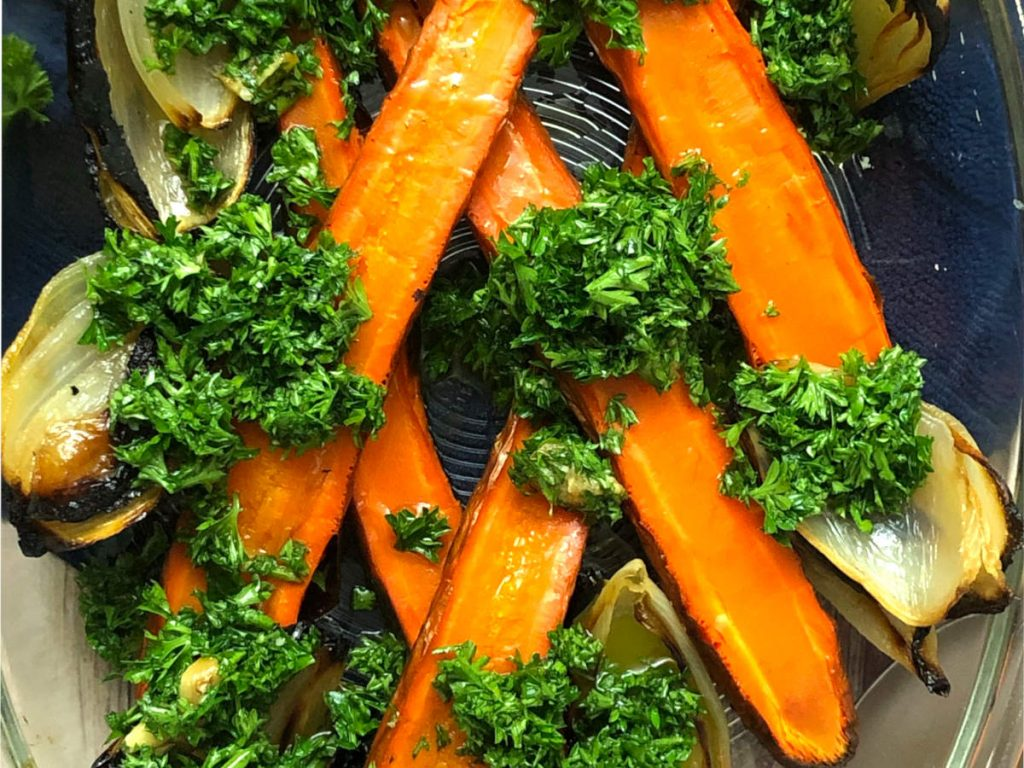 roasted carrots and onions with parsley salad