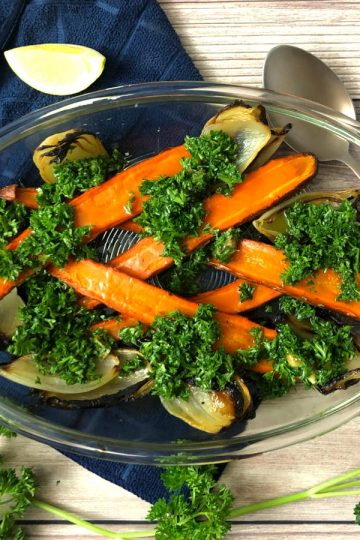 oven roasted carrot and onions with chopped parsley salad