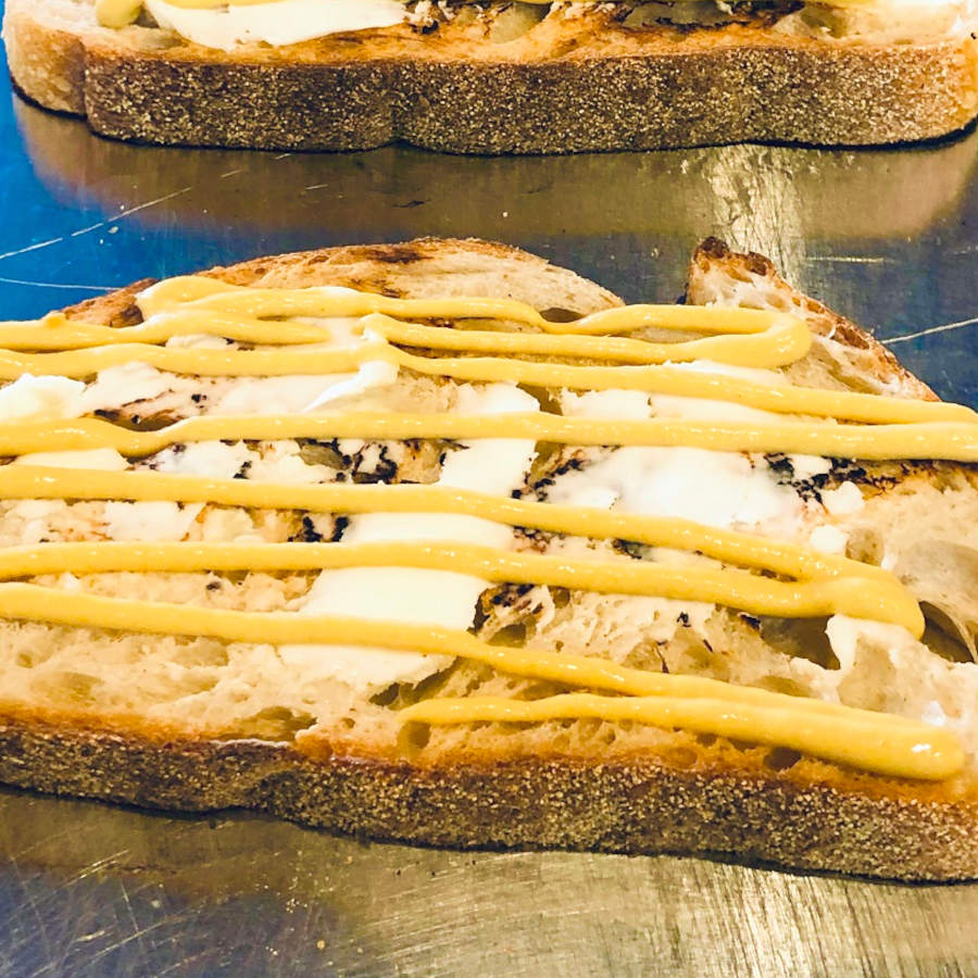 croque monsieur toast with butter and dijon