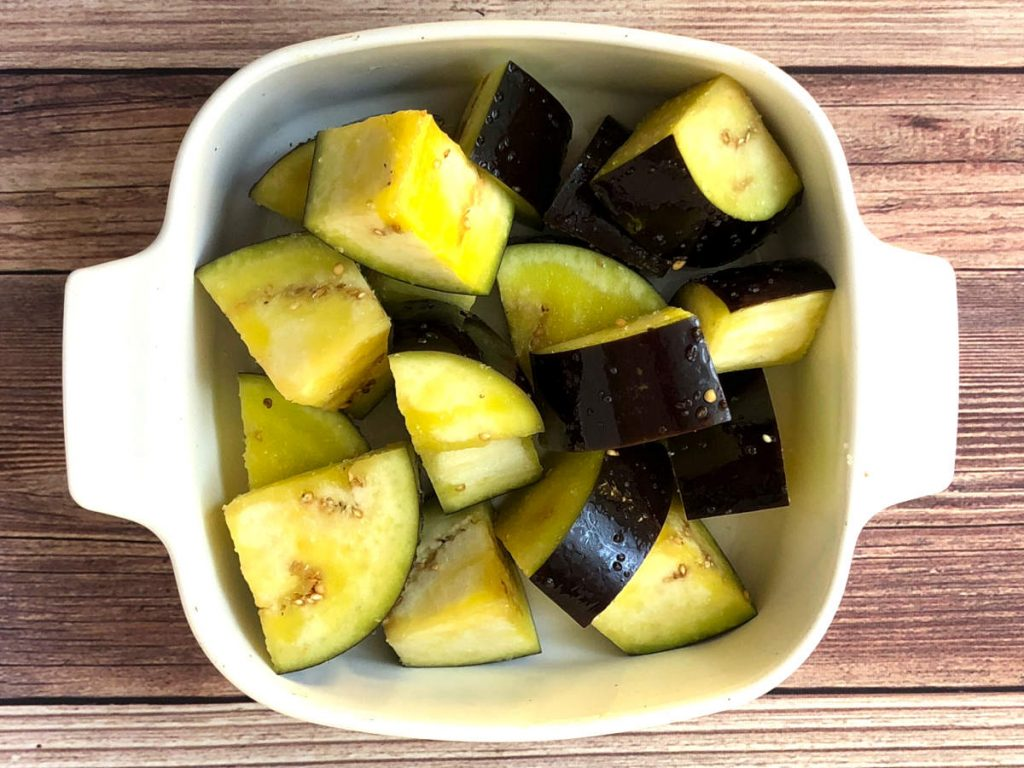 chopped eggplant with olive oil and salt