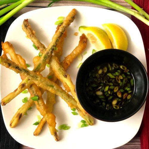 asparagus tempura with lemon and soy sauce