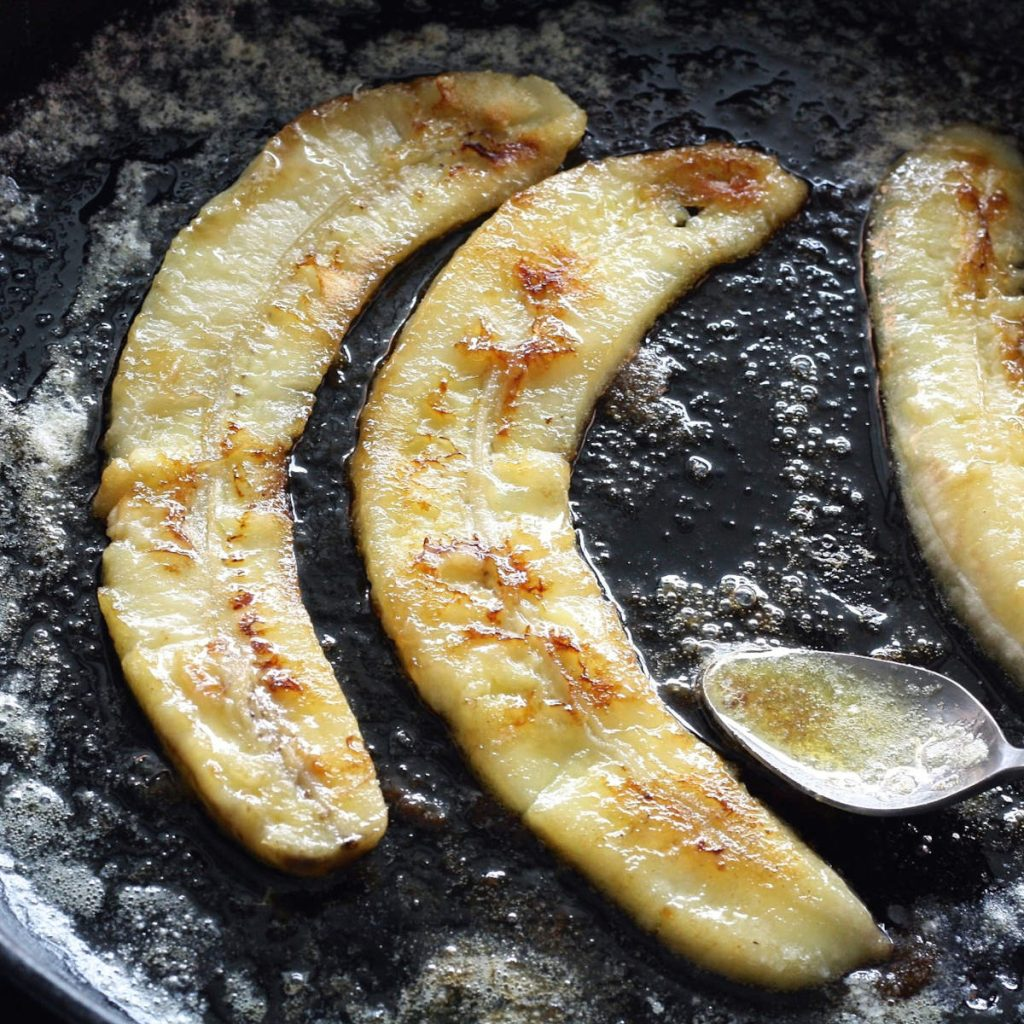 cast iron seasoning oil - caramelized bananas