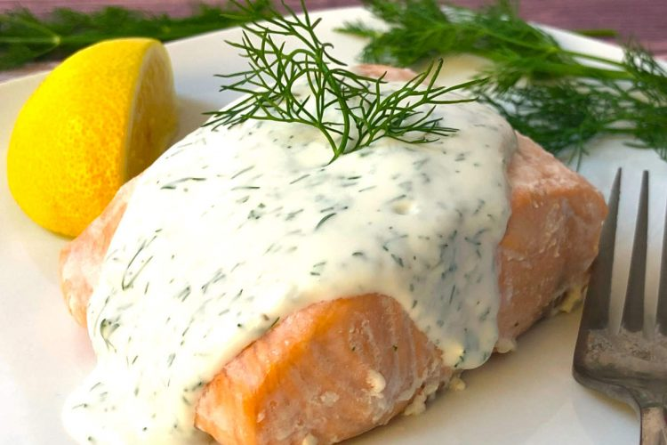 oven poached salmon with dill and lemon