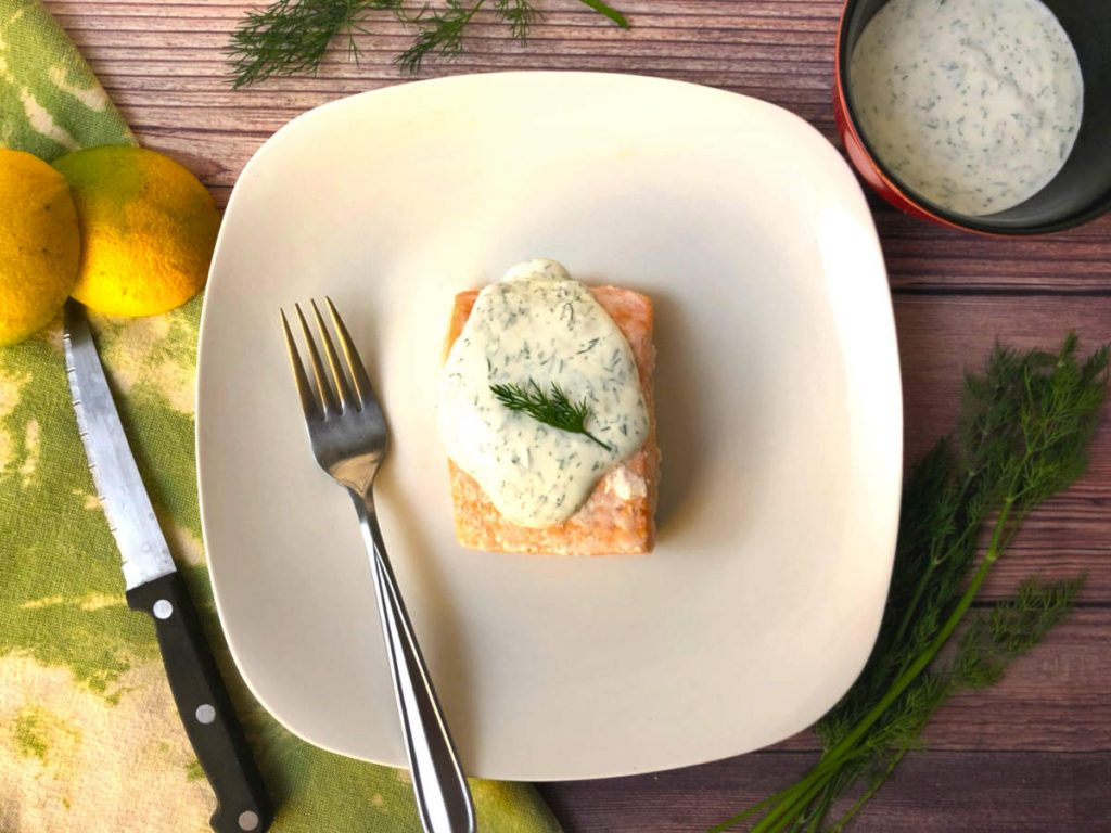 oven poached salmon with dill cream sauce