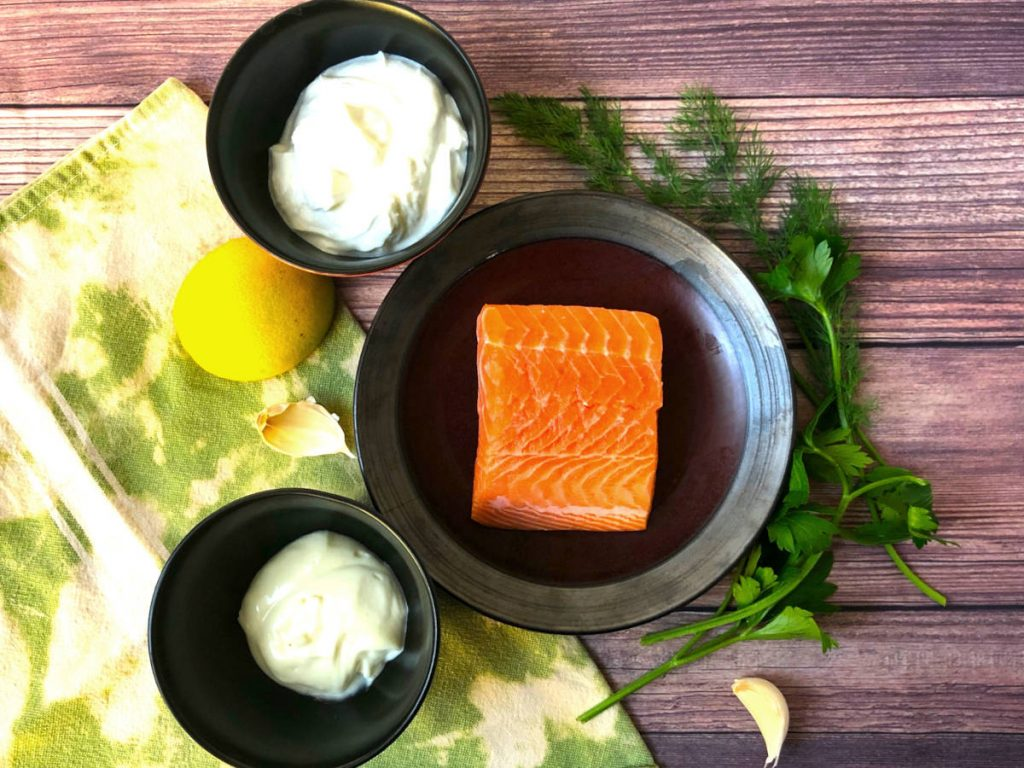 oven poached salmon with dill lemon aioli