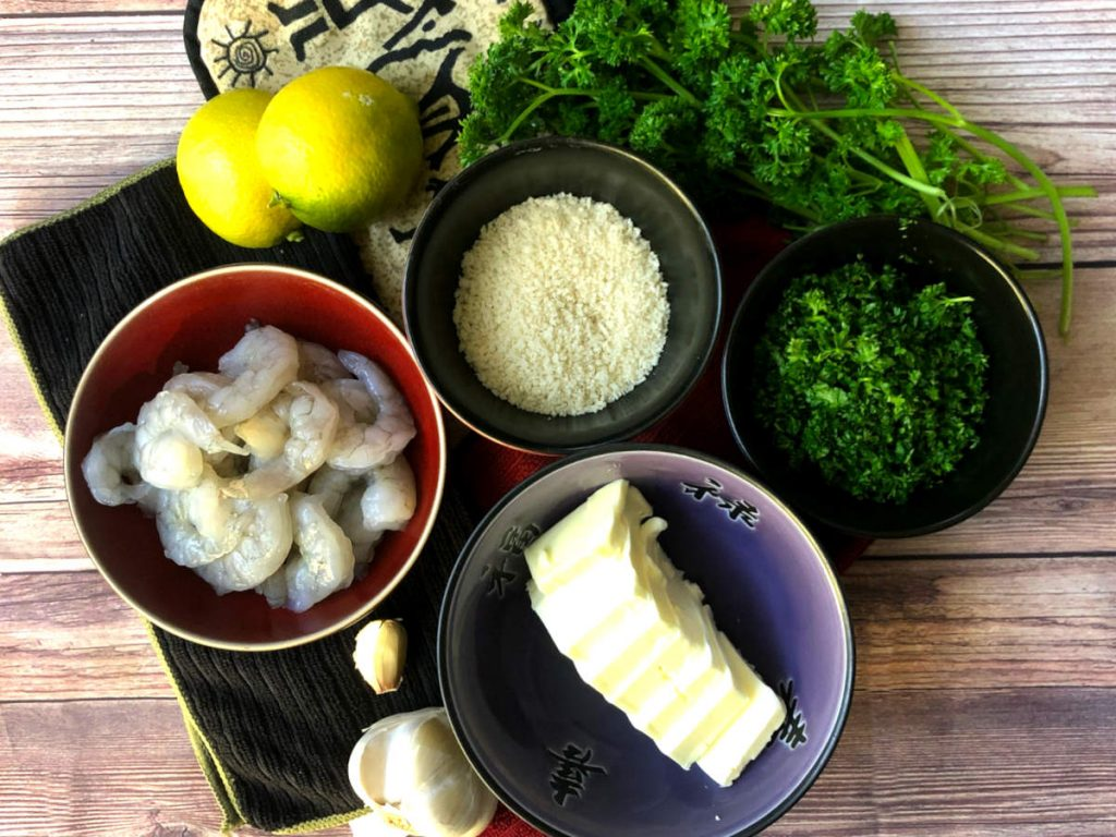 ingredients for shrimp with garlic parsley butter sauce