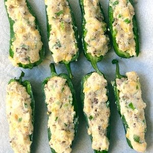 cheese and sausage stuffed jalapeno poppers
