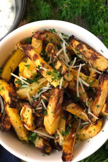rutabaga fries with herb garlic yogurt