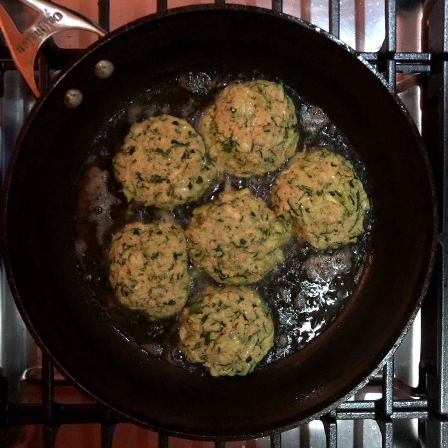 pan frying zucchini crab cakes