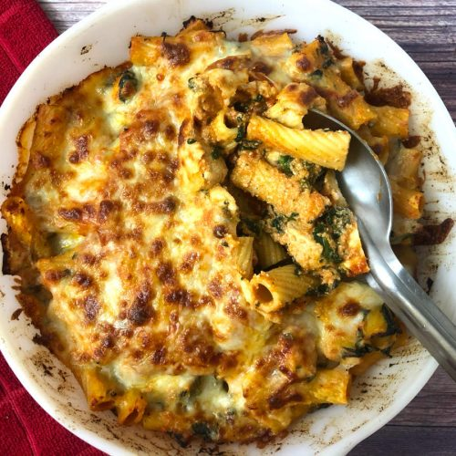 baked ziti with chicken and spinach, or pasta al forno