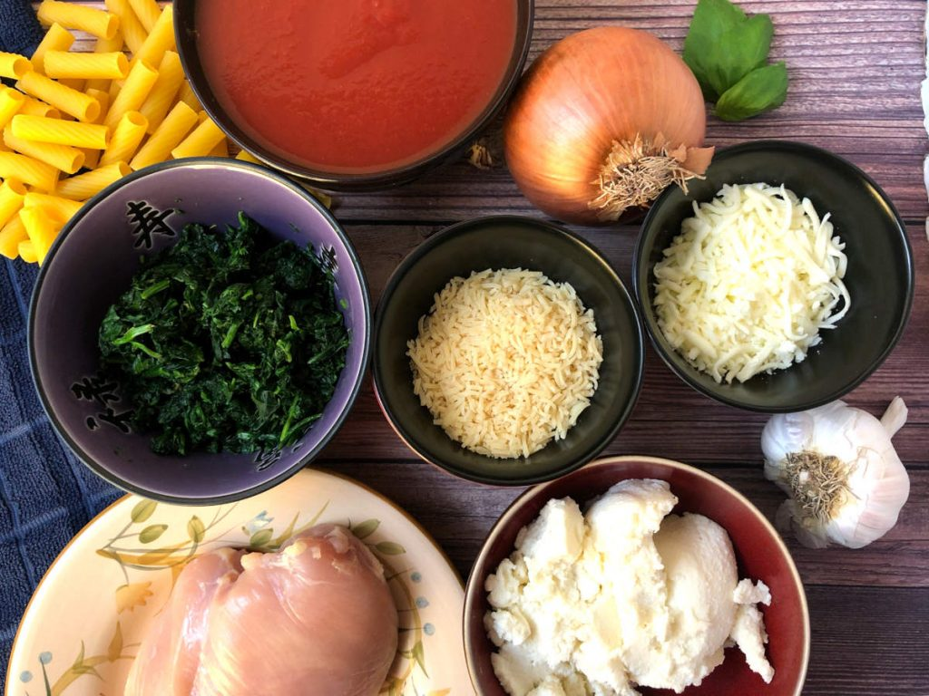 ingredients for baked ziti with spinach and chicken